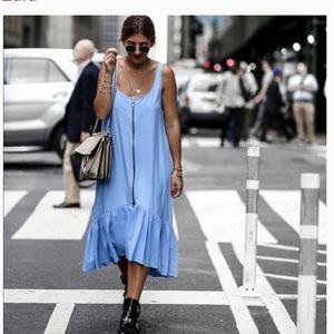 Zara Blue Zipper Front High Low Dress